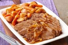 Crockpot Beef Brisket Meal-This is a delicious, easy meal made up of brisket, potatoes and carrots cooked in barbecue sauce. Delicious and also a healthy, WeightWatchers and Diabetic recipe! Cooked all day. Makes 12 Servings.