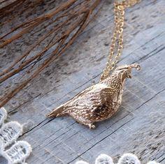 Solid Bronze Quail Necklace