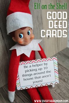 Elf on the Shelf Printable Good Deed Cards - who says your Elf can't be fun, a little mischievous AND encourage good deeds? #elfontheshelf #gooddeeds #payitforward