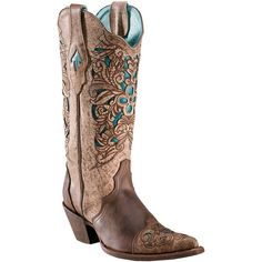 Corral Ladies Brown w/ Turquoise Inlayed Floral Tool Pointed Toe... ($270) ❤ liked on Polyvore