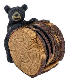Take a look at this Black Bear Stump Coaster Set on zulily today!