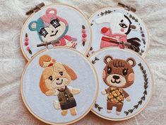 Cute Embroidery, Hand Embroidery Designs, Cross Stitch Embroidery, Embroidery Patterns, Cross Stitch Patterns, Learning To Embroider, Animal Crossing Villagers, Modern Cross Stitch, Crafty