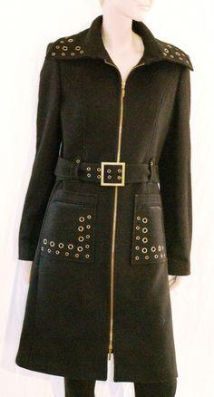 Charming Wool Blended Woman Parka Coat Anorak Jacket Size M/L Cappotto Giaccone Donna  Nero Cintura Misto Lana Decorato ACCIAIO Taglia 46 di BeHappieWorld su Etsy