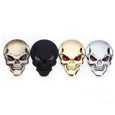 3D Mát Kim Loại Skull Xe Nhãn Dán Xe Styling Xe Máy Truck Kim Loại Badge Emblem Tail Decal Phụ Kiện