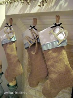 burlap christmas stockings, love the letters by lesley
