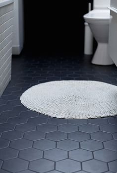 Charcoal gray hexagon tile
