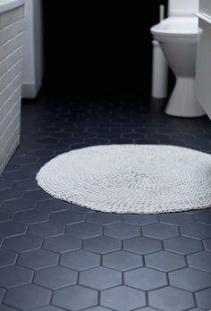 Charcoal gray hexagon tile