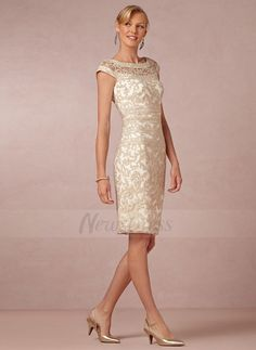 Sheath/Column Scoop Neck Knee-Length Lace Zipper Up Cap Straps Sleeveless No 2015 Champagne Spring Summer General Mother of the Bride Dress
