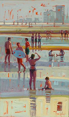 Galveston Holiday Crowd - Rene Wiley - 2014 - 20 x 12 by René Wiley Gallery Oil ~ x Painting People, Figure Painting, Painting & Drawing, Water Art, Guache, Surf Art, Wow Art, People Art, Art Plastique