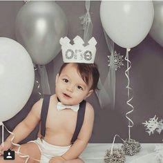 White and Metallic Silver First Birthday Felt by Kutiebowtuties
