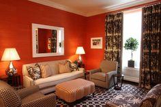 Beautiful orange & brown living room!