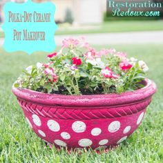 Polka-Dot Ceramic Pot Makeover - Restoration Redoux http://www.restorationredoux.com/?p=8873