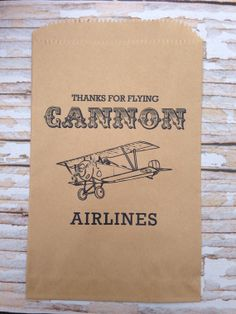 25 Custom Vintage Bi-Plane Candy Bags-Candy Buffet-Baby Shower, Birthday Party, Peanut Bag on Etsy, $17.50