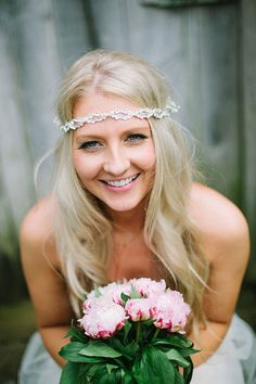 Real bride wearing a 1970s bohemian bride style headband and Claire Pettibone's Larissa for a Delightful Homemade, DIY Wedding in the Countryside // Photography http://www.lawsonphotography.co.uk/