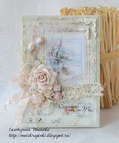 handmade card from La magie du papier . lace, pearls and artificial flowers . Shabby Chic Cards, Shabby Chic Flowers, Mixed Media Cards, Spellbinders Cards, Wedding Anniversary Cards, Mothers Day Cards, Pretty Cards, Card Tags, Flower Cards