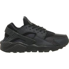 NIKE Air huarache trainers ($110) ❤ liked on Polyvore featuring shoes, sneakers, nike, huaraches, black black, black shoes, nike sneakers, nike footwear, lacing sneakers and laced shoes