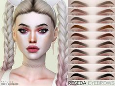 Reseda Eyebrows N129 by Praline Sims for The Sims 4 Sims 4 Cas, Sims Cc, Elf Make Up, Sims 4 Cc Eyes, The Sims 4 Skin, Sims 4 Black Hair, The Sims 4 Cabelos, Pelo Sims, Sims 4 Gameplay