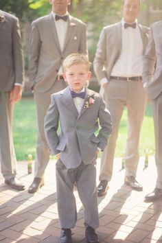 This little man looks a treat in his suit. Mid grey makes a great base colour for any time of year.