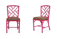 Spray paint Chinese Chippendale chairs hot pink - I also love the red piping on the cushions