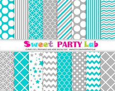 Turquoise and Grey Digital Paper Chevron Polka Dot by PartyLab