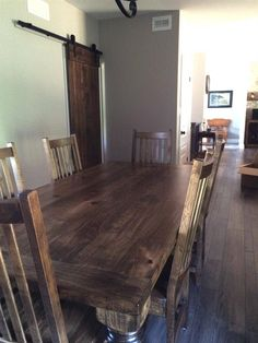 Spindle Wormy Maple Harvest Table Sliding Barn Door