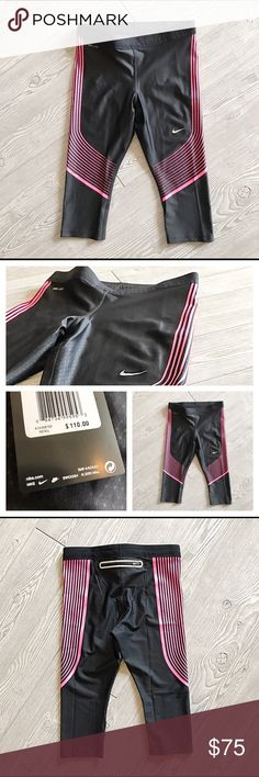 ✔️Nike Running Capris NWT Pair of Nike Dri Fit Power Compression Running Capris. New with tags. They are a black and hot pink pattern that is currently sold out on Nike's site and costs $110 at Dick's. Grab them before they're gone!!  Includes drawstrings for adjustable comfort and a zippered back pocket with vapor barrier to keep your items dry.   Reflective for night runners. 74% polyester and 26% spandex. Nike Pants Leggings
