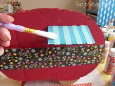 How to make a cute camper Valentine card box from scraps!  Cute decoration too!