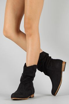 Wild Diva Lounge Tosca-52 Suede Slouchy Cowboy Boot