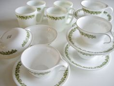 Vintage Crazy Daisy or Green Spring Blossom Corelle and Pyrex Dish Set - 16 pieces