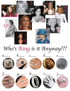 """Well.. I won't take full credit for this. I found an article on """"The Knot"""" titled - """"10 Most Famous Engagement Rings In History"""" and I turned it into a fun match game. It wound up being a quick and fun game at the office bridal shower that I put together... Hope you all enjoy!"""