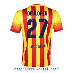Maillot de foot Barcelone Exterieur 2013 2014 (27 Deulofeu) Rouge Jaune Pas Cher http://www.korsel.net/maillot-de-foot-barcelone-exterieur-2013-2014-27-deulofeu-rouge-jaune-pas-cher-p-3116.html
