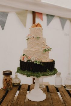 Three tier vegan wedding cake made by the bride. Photography by http://boycalledben.co.uk/