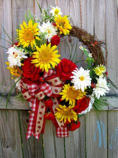 Rustic Sunflower Gerber Daisy Rose & Ladybug Wreath, by IrishGirlsWreaths