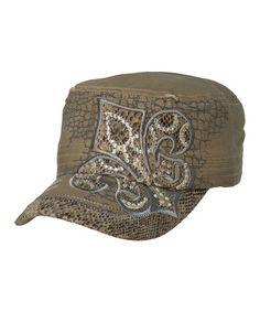 Beige Rhinestone Snake Fleur-de-Lis Cadet Cap #zulily #zulilyfinds