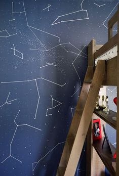 Here's how we gave a boy who loves stars, science, and superheroes a fresh outer space bedroom makeover, complete with a wall full of constellations! Bedroom Night, Baby Bedroom, Kids Bedroom, 1930s Bedroom, Star Bedroom, Modern Bedroom, Bedroom Themes, Bedroom Decor, Bedroom Ideas