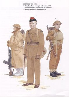 British Commandos, origins 1940-41 - 1. Bren gunner Independent Company, 1940 - 2.  Lieutenant Colonel Durnford-Slater, 3 Commando - 3. Sergeant Major, 1 Commando, 1941