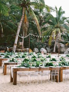 9 Simple Ways to Pull Off a Cool Beach Wedding--A Laid-Back Beach Wedding in Sayulita, Mexico, wedding reception with greenery centerpieces and hanging bulbs Wedding Destination, Cancun Wedding, Hawaii Wedding, Wedding Venues, Wedding Mexico, Wedding Cakes, Mexican Beach Wedding, Beach Wedding Decorations, Beach Wedding Favors