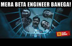 3 Idiots Dialogues We are sharing Funny 3 Idiots Dialogues Meme Bollywood Dialogues Meme By Filmy Keeday Mera Beta Engineer Banega
