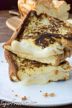 Low Carb cloud bread grilled cheese- gluten free, grain free- sugarfreemom.com