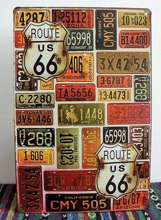 Tin Sign Wall Retro Metal Bar Pub Poster slogan Route Us Road 66 license Plate C