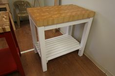 White Kitchen Cart with Butcher Block Maple Top by McClure Tables.