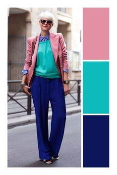 Looks color block. Colour Combinations Fashion, Color Combinations For Clothes, Color Blocking Outfits, Fashion Colours, Colorful Fashion, Color Combos, Fashion Mode, Look Fashion, Fashion Outfits