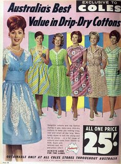1962 frocks at Coles, love the colors and patterns here!