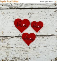 Stethiscope EKG Heart Felties are machine embroidered using acrylic blend felt. They are made with red felt. These are great for adding to your hair clips, bows, scrap booking and lots of other creative projects.  Need a different color combo? Send me a convo to customize your order