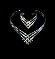 Vintage 1980's Metal Cuff Necklace And by HeidisTreasureChest