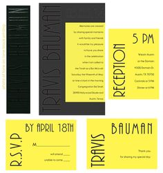 Specialty Double Layer Invitation. Base layer Black Plike with tone on tone printing. Top layer Yellow Neon Vellum with black thermography. Accessories - Yellow Neon Vellum with black thermography printing.