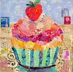 """Cindrella's Cupcake 12089, 8x8x3/4"""" gallery wrapped canvas, torn and hand painted paper collage Nancy Standlee Art Blog"""