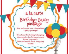 a la carte Party Package items