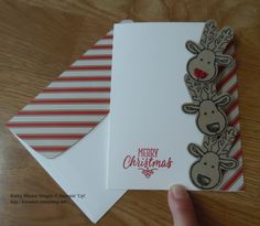 Christmas Card made with Stampin' Up1's Cookie Cutter Christmas Bundle and Candy Cane Lane Paper.  For details, go to my Wednesday, November 9, 2016 blog at http://www.stampinup.net/blog/2130686/entry/cookie_cutter_christmas_reindeer