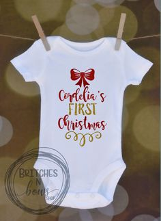 Girly First Christmas // Baby Apparel, Toddler Shirts, Trendy Baby Clothes, Cute Baby Clothes, Baby and Toddler Clothes  www.BritchesNBowsShop.com  www.BritchesNBowsShop.etsy.om